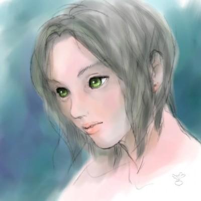 憂い顔(水彩にじみ風)