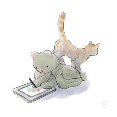 くま、猫に乗られる