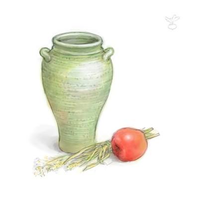 緑色の壺(デジタル水彩)
