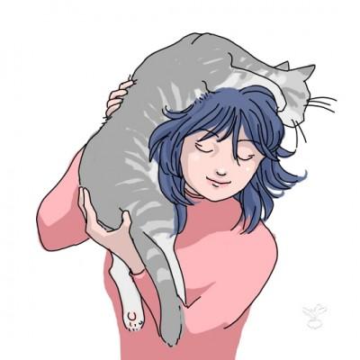 肩乗りネコ