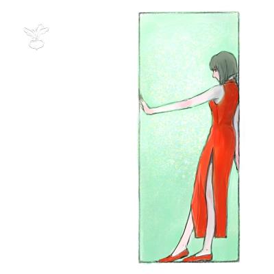 戸口に立つ女